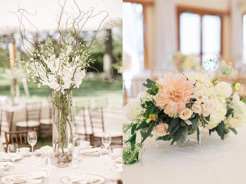 hoa cưới để bàn hợp màu sắc