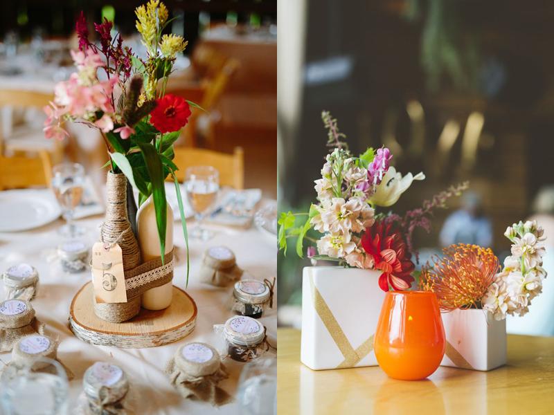 hoa cưới để bàn lạ